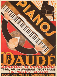 """Pianos Daude (c. 1970s) Rolled, Very Fine-. Full-Bleed French Advertising Poster (46"""" X 62"""") Andre Daude Artwo..."""