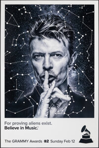 "59th Annual Grammy Awards: David Bowie (CBS, 2017). Rolled, Very Fine. New York Bus Shelter (48"" X 72"") SS Adv..."