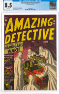 Golden Age (1938-1955):Horror, Amazing Detective Cases #12 (Atlas, 1952) CGC VF+ 8.5 White pages....