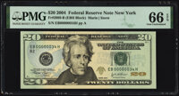 Low Serial Number 34 Fr. 2089-B $20 2004 Federal Reserve Note. PMG Gem Uncirculated 66 EPQ