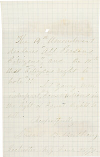 Susan B. Anthony Autograph Note Signed