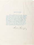 "Autographs, Andrew Carnegie Typed Quote Signed. One page, 8"" ..."