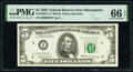 Small Size:Federal Reserve Notes, Low Serial Number 45 Fr. 1969-I* $5 1969 Federal Reserve Star Note. PMG Gem Uncirculated 66 EPQ.. ...
