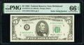 Small Size:Federal Reserve Notes, Radar Serial Number 56411465 Fr. 1978-E $5 1985 Federal Reserve Note. PMG Gem Uncirculated 66 EPQ.. ...