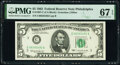 Fr. 1967-C $5 1963 Federal Reserve Note. PMG Superb Gem Unc 67 EPQ