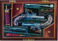 Large Framed Painting of a Cased Set of English Engraved Flintlock Pistols with Accessories by Diane Sloan