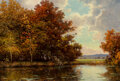 Paintings, Robert William Wood (American, 1889-1979). Autumn Afternoon. Oil on canvas. 20 x 30 inches (50.8 x 76.2 cm). Signed lowe...