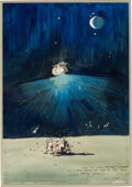 Explorers:Space Exploration, Original Watercolor Painting by Legendary Space Artist Robert McCall with Dedication to Dr. Christopher Kraft, Directly from t...