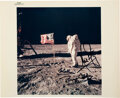 Explorers:Space Exploration, Apollo 11 Crew-Signed Vintage NASA Buzz Aldrin on Lunar Surface with American Flag Color Photo....