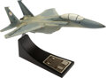 Explorers:Space Exploration, Chuck Yeager Signed F-15 Air Superiority Fighter Model on Stand with Specifications, 1/48....