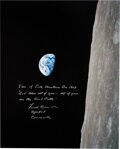 """Explorers:Space Exploration, Frank Borman Signed Large Apollo 8 """"Earthrise"""" Color Photo with Added Biblical Quote from the Christmas Eve Broadcast...."""