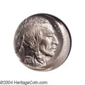 Buffalo Nickels: , 1918-D 5C --Struck 15% Off Center--MS65 NGC. The left ...