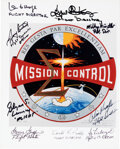 Explorers:Space Exploration, NASA Mission Control Insignia Color Photo Signed by Nine Controllers....