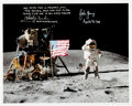 """Explorers:Space Exploration, Apollo 16 Moonwalkers: Signed Apollo 16 Lunar Surface John Young """"Leaping"""" Flag Salute Color Photo, with Zarelli Letter of Aut..."""