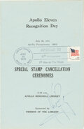 """Explorers:Space Exploration, Neil Armstrong Signed """"Apollo 11 Recognition Day"""" Tenth Anniversary-Cancelled Program...."""