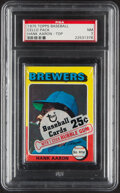 Baseball Cards:Unopened Packs/Display Boxes, 1975 Topps Cello Pack With Hank Aaron on Top PSA NM 7. ...