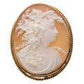 Estate Jewelry:Brooches - Pins, Shell, Gold Pendant-Brooch. ...