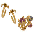 Estate Jewelry:Lots, Ruby, Sapphire, Gold Jewelry Lot. ... (Total: 2 Items)