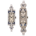 Estate Jewelry:Watches, Lady's Diamond, Synthetic Sapphire, Platinum, White Gold Watches. ... (Total: 2 Items)