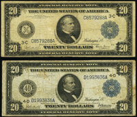 Fr. 973 $20 1914 Federal Reserve Note Very Good; Fr. 976 $20 1914 Federal Reserve Note Very Good