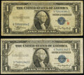 """Small Size:Silver Certificates, Fr. 1609 $1 1935A """"R"""" Silver Certificate. Fine-VF;. Fr. 1610 $1 1935A """"S"""" Silver Certificate. Fine.. ... (Total: 2 notes)"""