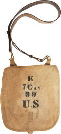 "Military & Patriotic:Spanish American War, Canvas 7th Cavalry Knapsack. 12"" x 12.75"" ..."