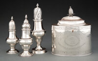 Four Hester Bateman Silver Articles, London, circa 1785 Marks to each: (lion passant), (crowned leopard's head), HB, (v...