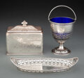 Silver & Vertu, Three English Silver Articles, London, 1780 and later. Marks to each: (lion passant), (leopard's head), (various). 4-3/4 x 5... (Total: 3 )