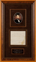Autographs:U.S. Presidents, Abraham Lincoln Signed Document. ...