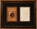 Autographs, Harry Houdini Inscription and Signature. One page,...
