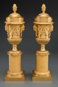 Metalwork, A Pair of Gilt Bronze Casolette with Masks and Frieze Mounts, circa 1900. 15 x 4-1/8 inches (38.1 x 10.5 cm) (each). Pro... (Total: 2 Items)