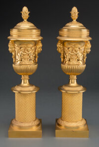 A Pair of Gilt Bronze Casolette with Masks and Frieze Mounts, circa 1900 15 x 4-1/8 inches (38.1 x 10.5 cm) (each)