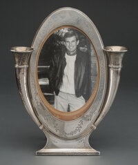An American Silver Frame with Bud Vases, circa 1915 Marks: STERLING, 1687, 925, PAT'D AUG 24, 1915 11 x 8-7/8 x 2 inch...
