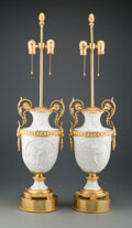Lighting, A Pair of French Gilt Metal Mounted Bisque Porcelain Urn-Form Table Lamps. 35 x 9-1/2 x 9 inches (88.9 x 24.1 x 22.9 cm) (ea... (Total: 2 Items)