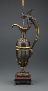 A Patinated and Gilt Bronze Ewer-Form Lamp Base 28-3/4 x 8-3/4 inches (73.0 x 22.2 cm) (overall)