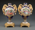 Ceramics & Porcelain, A Pair of Gilt Bronze Mounted Sèvres-Style Porcelain Two-Handled Vases. 13 x 9 x 6 inches (33.0 x 22.9 x 15.2 cm) (each). ... (Total: 2 Items)