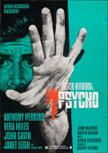 """Movie Posters:Hitchcock, Psycho (CIC, R-1970s). Folded, Very Fine. German A1 (23"""" X 33"""") Lutz Peltzer Artwork. Hitchcock.. ..."""