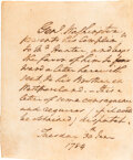Autographs:U.S. Presidents, George Washington Autograph Letter Signed in the Text.