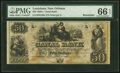 Obsoletes By State:Louisiana, New Orleans, LA- Canal Bank $50 18__ Remainder PMG Gem Uncirculated 66 EPQ.. ...