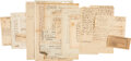 Autographs, Collection of Assorted Documents Relating to Delegates of the Stamp Act Congress and Continental Congresses. ...
