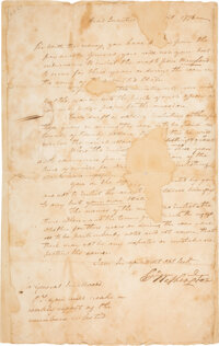 [Revolutionary War]. George Washington Letter Signed with Period Transcription