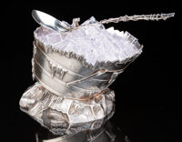 A Gorham Mfg. Co. Barrel-form Silver Ice Bucket with Spoon, Providence, Rhode Island, 1872 Marks: (lion-anchor-G), ST...