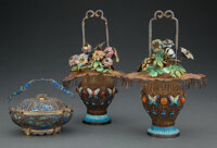 Three Chinese Export Enameled and Silver Filigree Baskets, circa 1900 Marks to tallest: SILVER 8-1/4 inches (21.0 cm)...