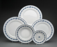 A Thirty-Two Piece Hèrmes Chaine D'Ancre Blue Pattern Porcelain Dinner Service for Eight