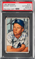 Autographs:Sports Cards, Signed 1952 Bowman Mickey Mantle #101 PSA Authentic, Auto 9. ...