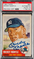Autographs:Sports Cards, Signed 1953 Topps Mickey Mantle #82 PSA Authentic, PSA/DNA Auto 10. ...