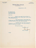 """Autographs:U.S. Presidents, John F. Kennedy Typed Letter Signed. One page, 8""""..."""