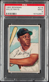 1952 Bowman Willie Mays #218 PSA Mint 9--None Superior!