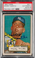 Baseball Cards:Singles (1950-1959), Signed 1952 Topps Mickey Mantle #311 PSA Authentic, Auto 9....