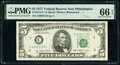 Small Size:Federal Reserve Notes, Low Serial Number 1159 Fr. 1974-C* $5 1977 Federal Reserve Star Note. PMG Gem Uncirculated 66 EPQ.. ...